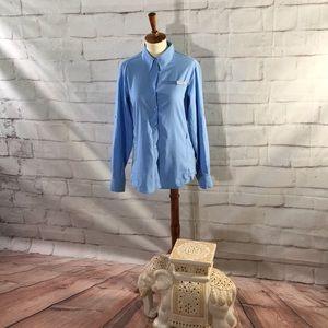 PFG Columbia Button Down Vented Blue Shirt